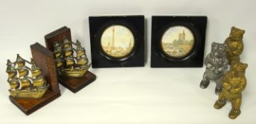 Three vintage bear money boxes, two brass and another white metal; two framed Prattware lids, Thames