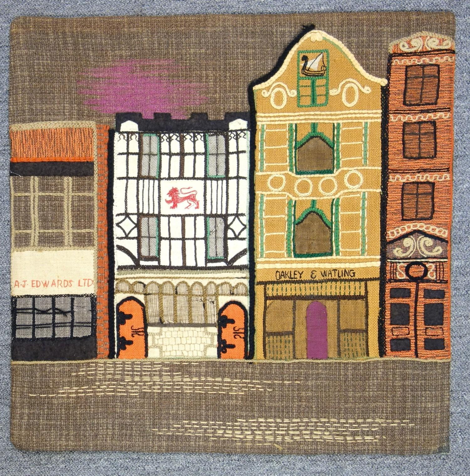 A group of textile embroidered panels, mid 20th C, including An embroidered panel, showing buildings - Image 10 of 11