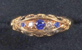 Edwardian Marquise ring, set with sapphire and diamond, size M and an emerald and diamond set
