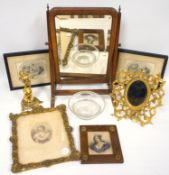 A mixed group of items including an engraving, F Bartolozzi, three further engravings, a gilt