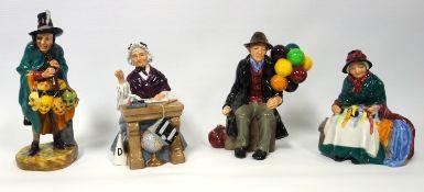 A group of Royal figures, Silk and Ribbons HN2017, The Mask Seller HN2103 , The Balloon Man HN1954