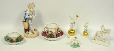 A group of German porcelain, petal edge Dresden cups and saucers, painted with figures, a 19th C.