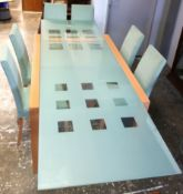 Ligne Roset design, extending glass top table, 95 x 140, extends to 259cm in length, seats 6-10, an