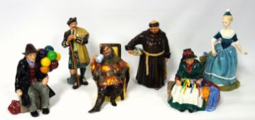 A group of Royal Doulton figures, The Laird, The Jovial Monk HN2144, The Balloon Man HN1954, The