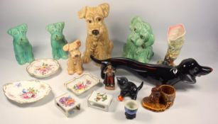 Mid-Century Italian model of a Dachshund, Sylvac models of dogs, Derby dishes, Herend porcelain matc
