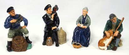 A group of Royal Doulton figures, The Lobster Man HN 2317, Shore Leave HN 2254, The Cup of Tea HN