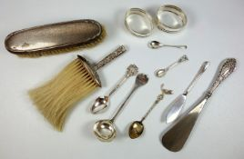 Pair of silver oval napkin rings, by V S Birmingham 1999, four spoons and a butter knife 113.7
