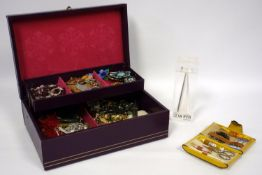 Group of vintage costume jewellery, garnet bead necklace, Seiko stainless steel wrist watch,