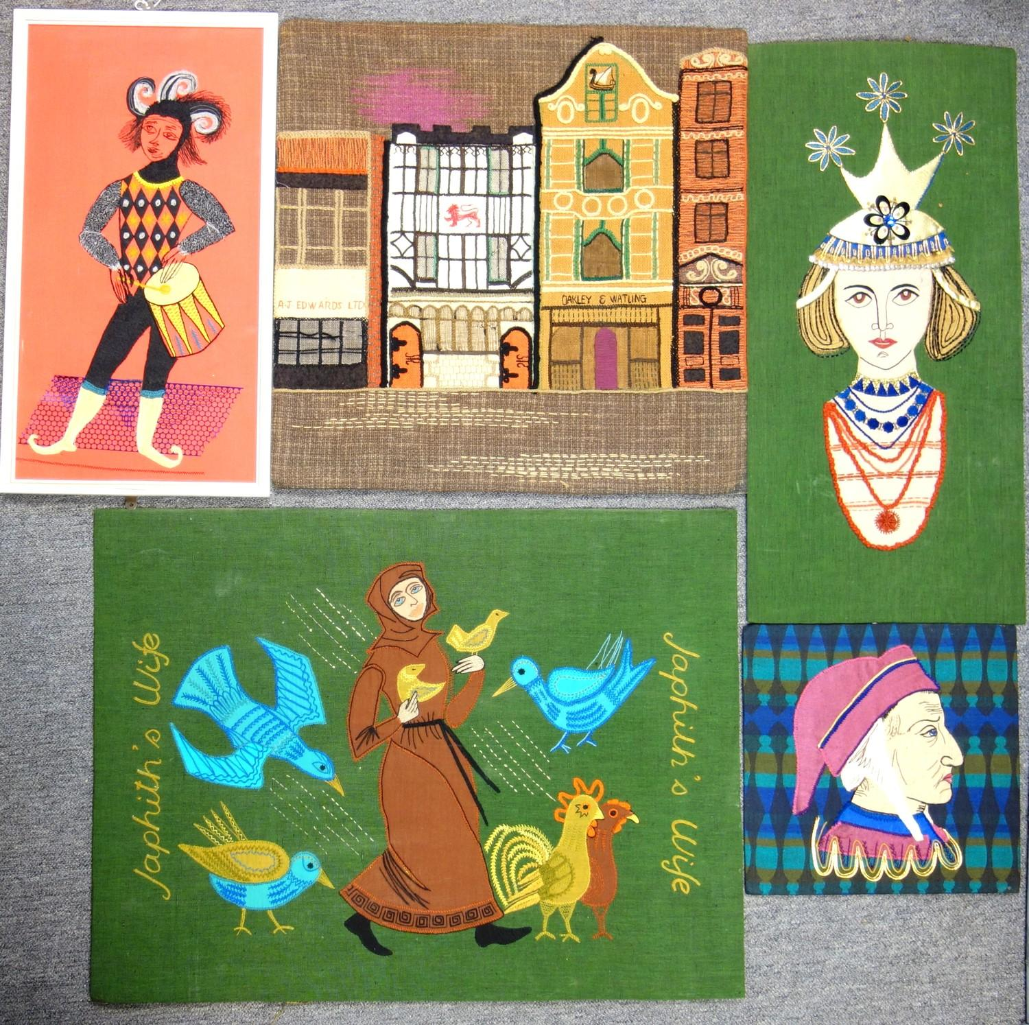 A group of textile embroidered panels, mid 20th C, including An embroidered panel, showing buildings - Image 6 of 11