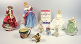 A group of Royal Doulton figures, including Amy HN3316, Top o' the hill HN 2956, Heather and Fair