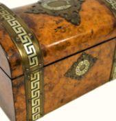 Victorian dome top tea caddy, burr walnut veneer, inlaid brass strapwork and mounts with Greek key