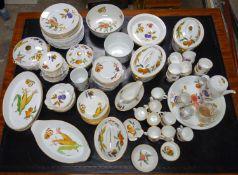 Worcester Evesham pattern, an extensive service; fifteen dinner plates, sixteen cups, saucers and