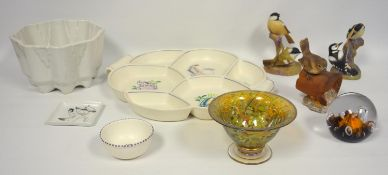 Isle of Wight glass footed lustre bowl, Caithness paperweight Poole Pottery, sectional dish, and sal