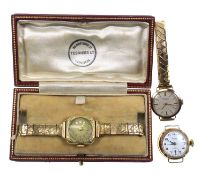 Edwardian ladies gold watch, the case with raised floral decoration and engraved sides, 14 ct, on