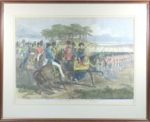 Interesting group of seven various coloured engraved prints relating to Chobham Camp, to include ?