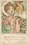 Mucha, Alfons Lady believed to be Sarah Bernhardt, in pink dress holds rooster 1903 I-II