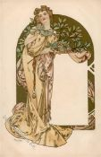 Mucha, Alfons Lady in gold dress with gilt arch in background I-II
