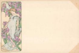 Mucha, Alfons Lady in blue dress with Irises I-II