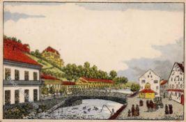 Wiener Werkstätte Nr. 195b Künstler unbekannt Alt Karlsbad Der Mühl- Neu- und Theresienbrunnen I-