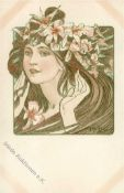 Mucha, Alfons Lady's face with hands close by flowers in long brown hair I-II