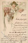 Mucha, Alfons signature reserved Lady in white dress and pink shawl holds wine glass 1901 I-II