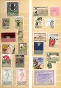 Vignette Österreich Steckalbum mit circa 320 Stück 1870-1930 I-II