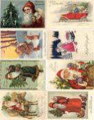 Weihnachtsmann Partie mit circa 180 Ansichtskarten dazu gratis circa 25 neuere Karten dabei viele Pr