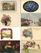 Verlag Meissner u. Buch Partie mit mit circa 160 Künstler-Karten I-II