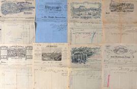 WERBUNG - Tolles LOT von 60 meist verschiedenen FIRMENRECHNUNGEN aus 1876 - ca. 1920 - Gesamtdeutsch