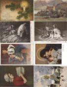 Künstler Partie von circa 300 alten Ansichtskarten I-II
