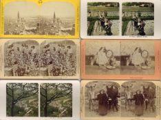 Stereofotos Motive Topo alle Welt Lot mit circa 90 Stück I-II