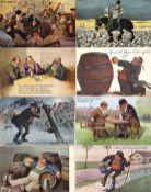 Bier Partie mit circa 180 Ansichtskarten vor 1945 dabei viele Künstler-Karten und Humor I-II