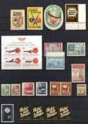 Vignette und Siegelmarken 3 Steckalben mit circa 950 Stück I-II