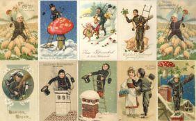 Schornsteinfeger Partie mit über 600 Ansichtskarten meist vor 1945 dabei auch schöne Prägekarten I-I