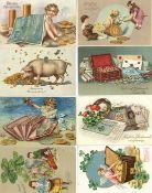 Geld Neujahr Schweine Zwerge Partie mit circa 500 Ansichtskarten vor 1945 viele schöne Präge-Karten