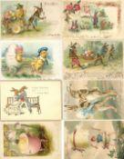 Ostern Partie mit circa 130 Ansichtskarten dabei viele Präge-Karten tolles Lot I-II