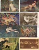 Erotik Partie mit circa 60 Künstler-Kartenn I-II