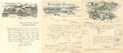 Werbung Album mit circa 90 schön illustrierten Rechnungen und Briefbögen I-II