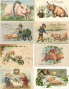 Schwein Neujahr Partie mit circa 800 Ansichtskarten meist vor 1945 viele schöne Präge-Karten dabei I