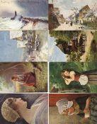 Künstler Album mit über 300 alten Ansichtskarten I-II