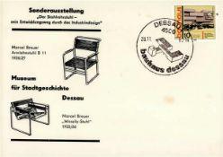 Bauhaus Dessau Briefumschlag mit Sondermarke und Sonderstempel I-II