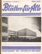 Bauhaus Zeitschrift Blätter für Alle Titelbild und Berichte über Bauhaus im Heft Monatsschrift der U