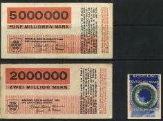 Bauhaus Bayer, Herbert Lot mit 2 Notgeldscheinen und 1 Vignette I-II