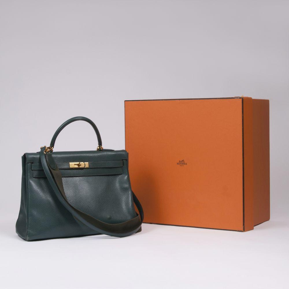 Hermès. Kelly Bag 35 Petrol. - Image 2 of 2