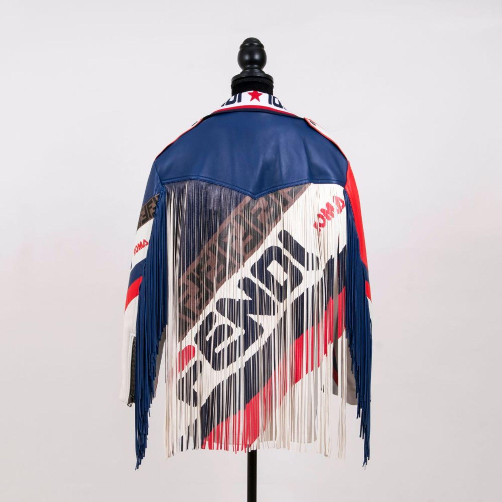 Fendi. Limitierte Blue Mania Logo-trimmed Biker Jacket in Kooperation Hey Reilly.