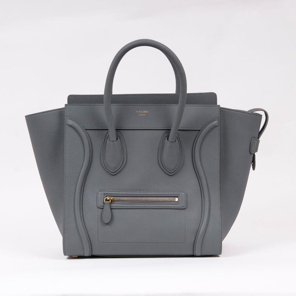 Céline. Mini Luggage Handbag Charcoal.