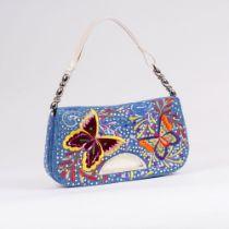 Christian Dior. Shoulder Bag mit Schmetterlings-Stickerei.
