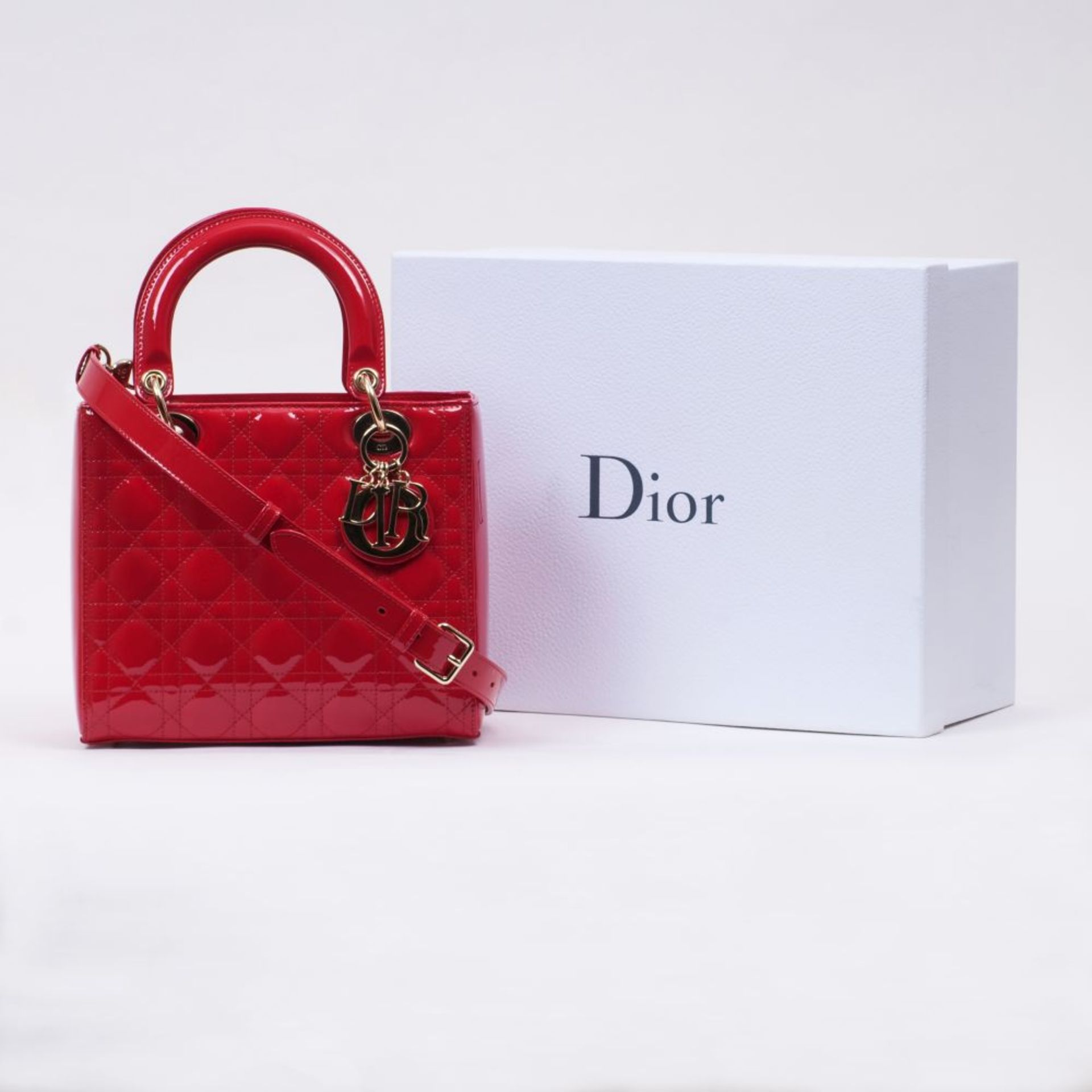 Christian Dior. Lady Dior Bag Kirschrot. - Image 2 of 2