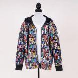 Fendi. Hooded Sweaterjacket Double F Logo mit Pailletten.