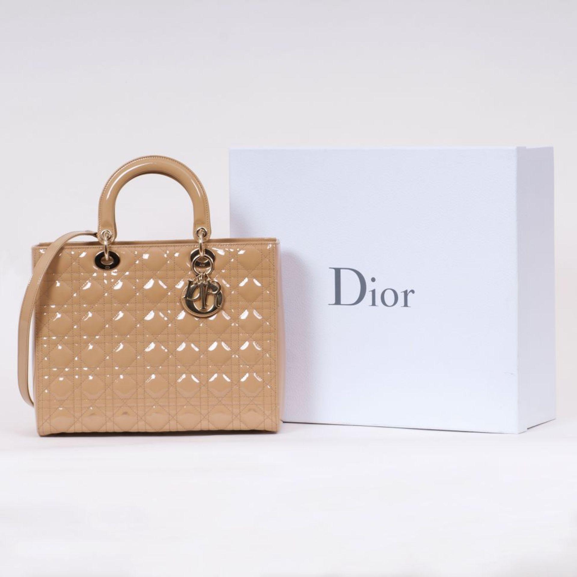 Christian Dior. Lady Dior Bag Beige. - Image 2 of 2